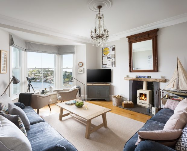 Living area in Apartment One at Retreat to Fowey