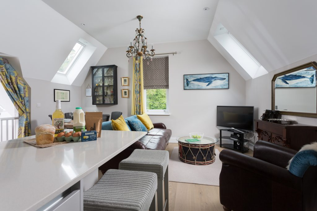 Living area in Retreat to Fowey's No.5 apartment